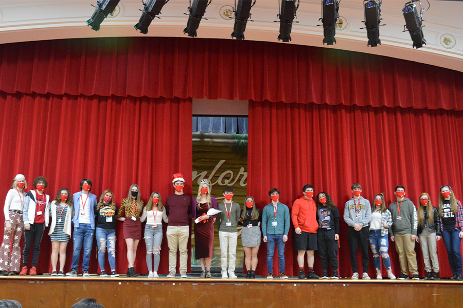2020 Homecoming Court candidates gather in the auditorium on March 3.